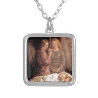 Sommeil - deux anges gardien et enfants pendentif carré