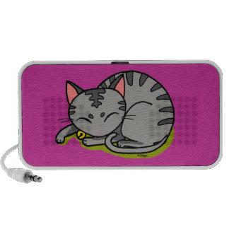 Sommeil gris mignon de chat haut-parleur mobile
