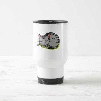 Sommeil gris mignon de chat mug de voyage en acier inoxydable