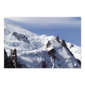 Sommet de Mont Blanc et de L'Aiguille du Midi Impression Photographique