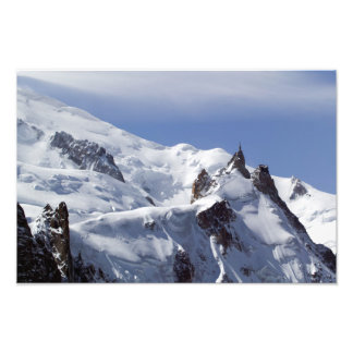 Sommet de Mont Blanc et de L'Aiguille du Midi Tirage Photo