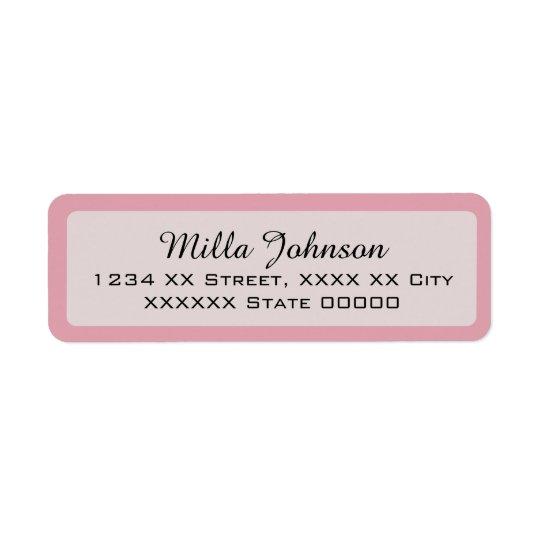 son nom avec la frontière rose étiquettes d'adresse retour