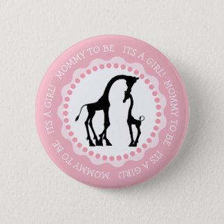 Son un bouton de baby shower de girafe de fille badge
