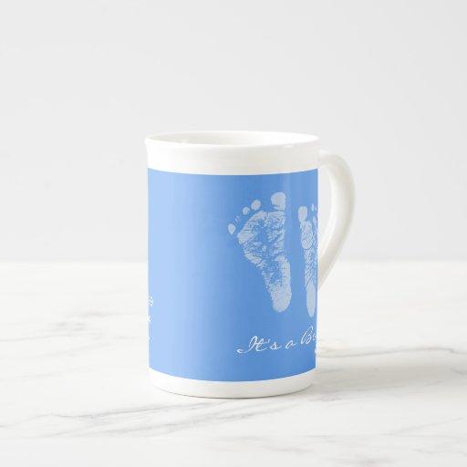 Son un faire-part de naissance d'empreintes de pas mug porcelaine anglaise