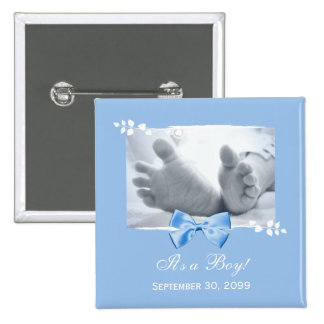 Son un faire-part de naissance élégant de baby sho badge carré 5 cm