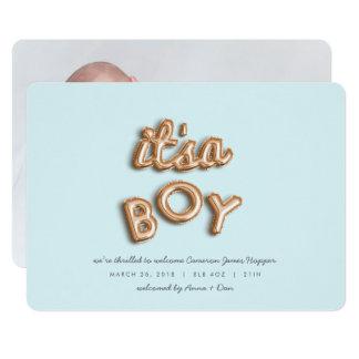 son un garçon ! S'est levé gold/BLUE Carton D'invitation 12,7 Cm X 17,78 Cm