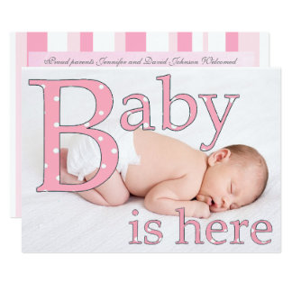 Son une fille, bébé est ici, des annonces de carton d'invitation  12,7 cm x 17,78 cm
