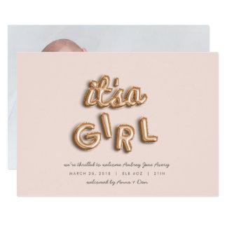 son une fille ! S'est levé gold/PINK Carton D'invitation 12,7 Cm X 17,78 Cm
