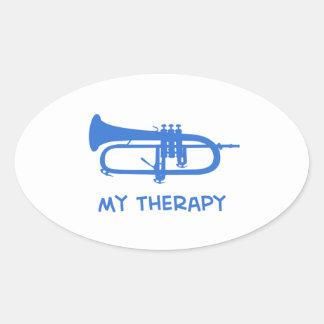 Sonnent de la trompette ma thérapie autocollants ovales