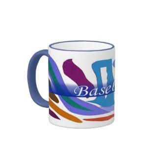 Sonnerie bleue d'art abstrait de ton de la terre mug ringer