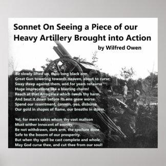 Sonnet d'artillerie lourde de Wilfred Owen Poster
