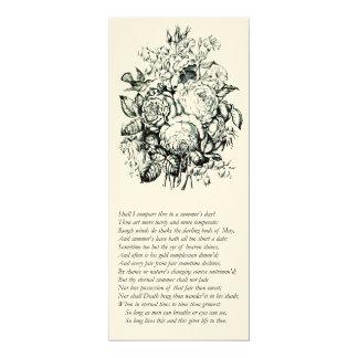 Sonnet de Shakespeare # 18 Carton D'invitation 10,16 Cm X 23,49 Cm