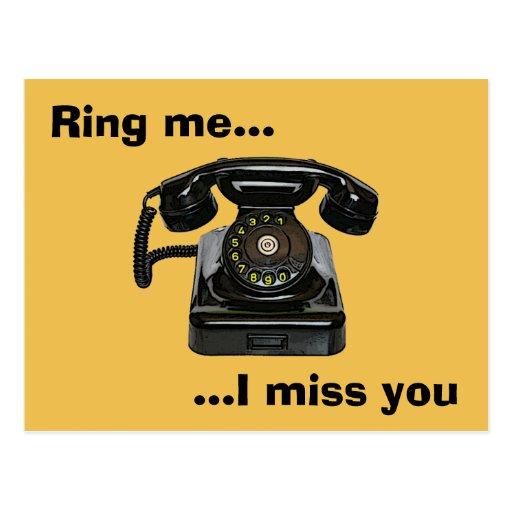Sonnez-moi… tu me manque téléphone vintage carte postale | Zazzle