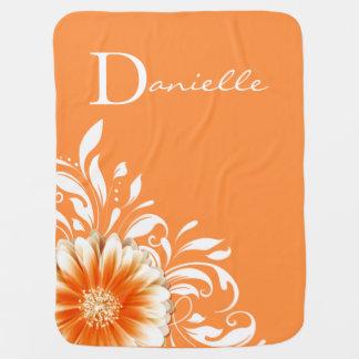 Sorbet orange du monogramme | de rouleau de couverture de bébé