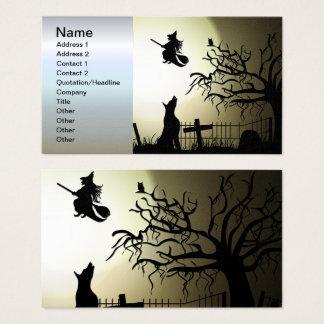 Sorcière de Halloween et chien d'hurlement Cartes De Visite