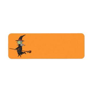 Sorcière de Halloween sur le balai Étiquette D'adresse Retour