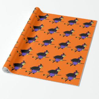 Sorcière de vol de Halloween Papier Cadeau
