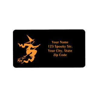 Sorcière des étiquettes de adresse | de Halloween Étiquette D'adresse