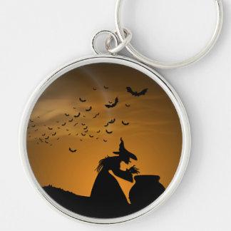 Sorcière et chaudron de Halloween avec des battes Porte-clés