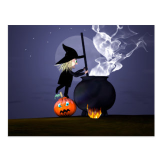 Sorcière et chaudron de Halloween Carte Postale