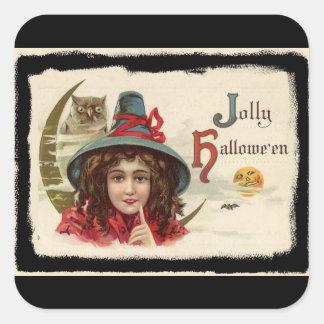 Sorcière gaie vintage de Halloween Sticker Carré
