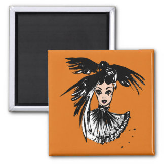Sorcière gothique de Halloween avec des corbeaux Aimant