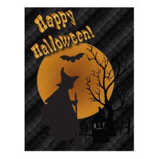 Sorcière heureuse de silhouette de Halloween Cartes Postales