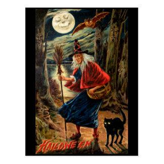 Sorcière la nuit Halloween Cartes Postales