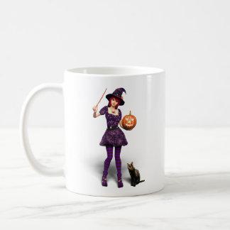 Sorcière mignonne de Halloween avec le chat noir Mug
