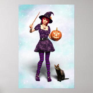 Sorcière mignonne de Halloween avec le chat noir Posters
