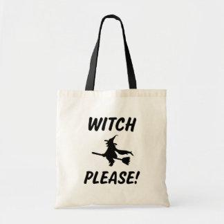 Sorcière svp Halloween drôle indiquant le sac des