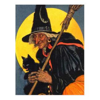 Sorcière vintage avec le chat noir carte postale