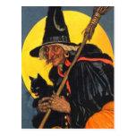 Sorcière vintage avec le chat noir cartes postales