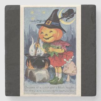 Sorcière vintage de citrouille de Halloween Dessous-de-verre En Pierre