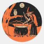 Sorcière vintage de Halloween avec des Sticker Rond