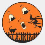 Sorcière vintage et lune de Halloween Sticker Rond