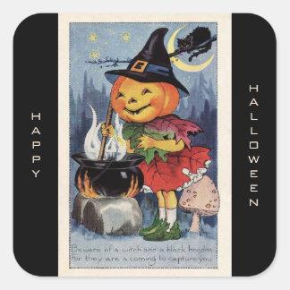 Sorcière vintage Halloween heureux de citrouille Sticker Carré