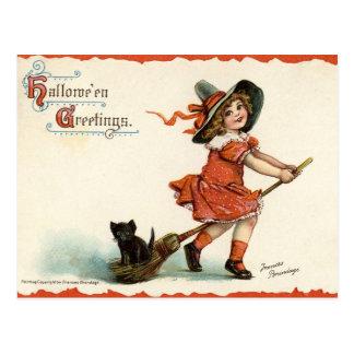 Sorcière vintage mignonne sur la carte postale de