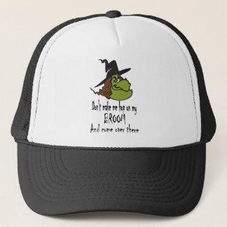 sorcière-visage-houblon sur le balai casquette