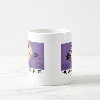 Sorcières sur un balai mug blanc