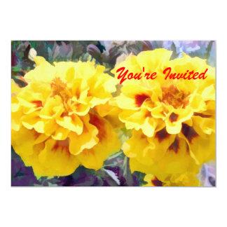 Soucis jaunes ensoleillés carton d'invitation  12,7 cm x 17,78 cm