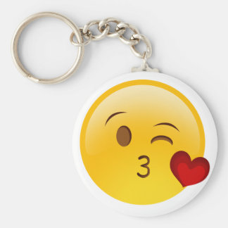 Soufflez un autocollant d'emoji de baiser porte-clé rond