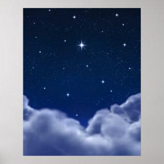 Souhait de l'étoile au-dessus des nuages poster