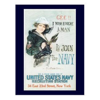 Souhait j'étais une guerre mondiale d'homme 2 carte postale