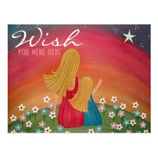 Souhaitant l'étoile - fille de mère souhaitant cartes postales