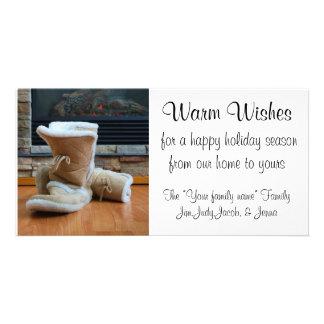 Souhaits chauds - bottes par la cheminée photocartes personnalisées
