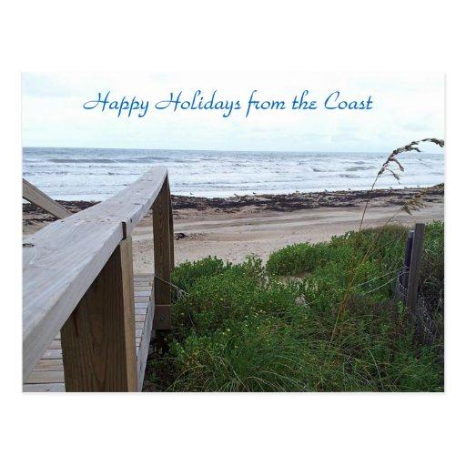 Souhaits chauds de vacances de la plage carte postale