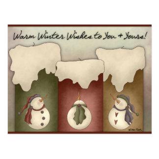 Souhaits chauds d'hiver à vous et au vôtre carte p