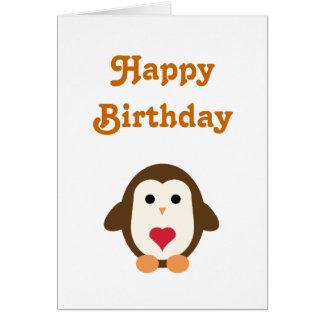 Souhaits d'anniversaire d'amour de pingouin carte de vœux