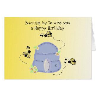 Souhaits de l'anniversaire de l'abeille de cartes de vœux